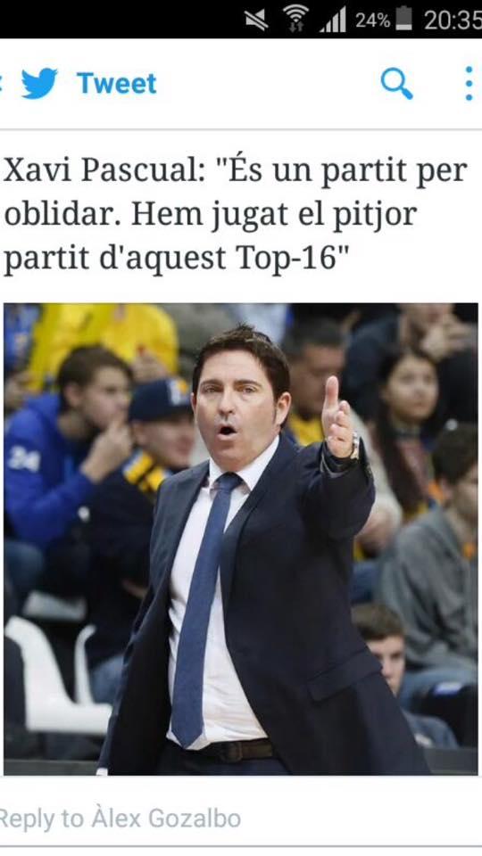 Fuente: twitter Los blaugranas al final, mas que cules, tendremos que ser amnesicos para ir olvidando partidos malos, Bilbao en Copa, este hoy...y mañana¿¿??